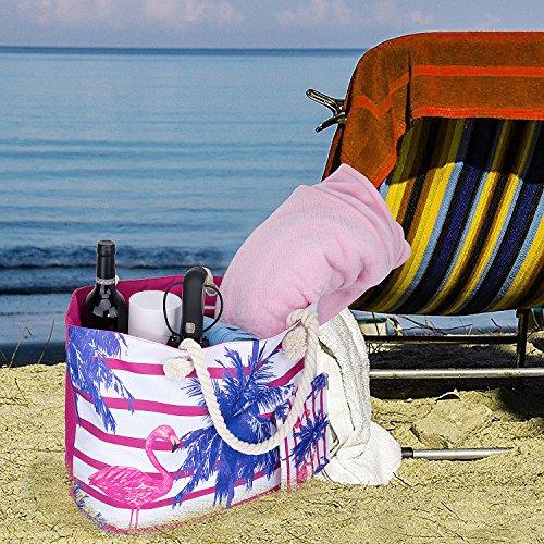 Borsa da Viaggio in Tela di Canapa da Spiaggia, ZWOOS Borsa Da Spiaggia Grande Tela Borsa a Spalla Tote Da Viaggio + Portamonete con Chiusura Zip per Donna e Ragazza (Stella marina) Fenicottero 4