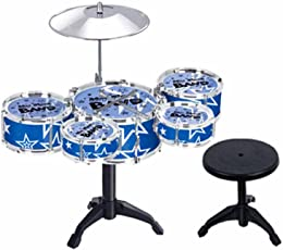 SAISAN Plastic 5 Jazz Drums Set for Kids, Multicolour (TH699-2) - Pack of 10