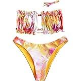 ZAFUL - Bikini da donna, senza spalline, con lacci e ruche, tinta unita