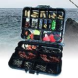 Kit maletín 128accesorios para pesca Cuentas Anzuelos Plomos emerillones REGGI señuelos