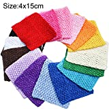 TtS Crochet Tube Top Strecke Häkelar Tutu Baby-Kleid-elastischer Bund-Stirnband 1.5'x6' (Hot Pink)