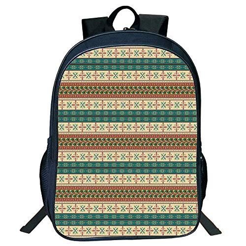HOJJP Mochila escolar Stylish Unisex School Students Black Native rican,Tribal Style Striped Pattern Ethnic Aztec s Art Print,Coral Teal Beige Kids, (Harley Quinn Von Vans)
