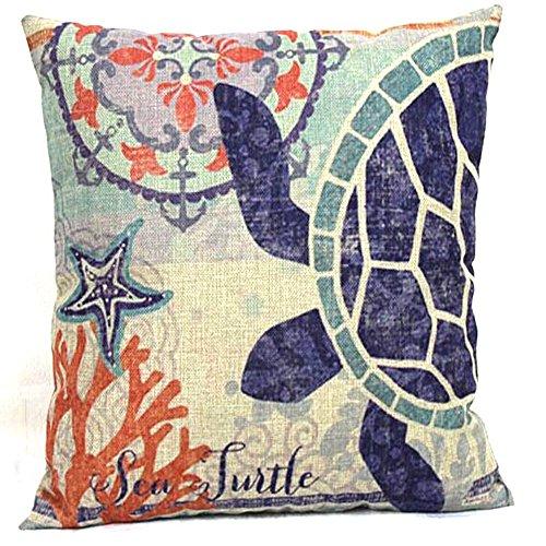 Retro Baumwolle Leinen Quadratisch Nautical Schildkröte dekorativer Überwurf-Kissen für Couch Kissenbezug 45,7x 45,7cm