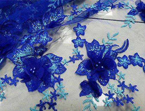 134,6cm Breite Perlen Hochzeit Spitze Stoff 3D Floral Stickerei mit Brautschmuck Spitze Stoff blau