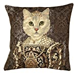 Belgian Tapestrie Edle Kissenhülle, Zierkissenhülle 45 X 45 cm, Queen Isabella of Spain Feline II, Gobelin Cushion