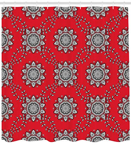 Bronze Ivy Leaf (MLNHY Red Mandala Shower Curtain, Sketchy Leaves Swirl Ivy Victorian Mesh Design Inspired Image, Fabric Bathroom Decor Set with Hooks, Vermilion White,Size:72W X 72L Inche)