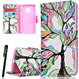 WE LOVE CASE MOTO G5 Wallet Case , Premium Quqlity Leather Cover with Card Holder Kickstand and Magnetic Closure, Folio Flip Foldable Book Feature Protective Case for Moto Motorola G5 - Tree