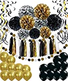 Geburtstag Party Dekoration, Girlande mit Seidenpapier Pompoms und Luftballons für Mädchen und Jungen Jeden Alters - Schwarz, Gold und Silber - 2