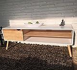 Wholesaler GmbH Sideboard Lowboard TV Konsole Kommode Fernsehschrank Holz Natur weiß 140 x 40 x 50 cm mit 2 Ablagen inkl. Kabelführung und Tür