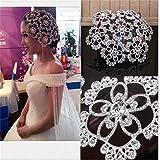 FUMUD Vintage Silver Prom Pageant Round Crown Rhinestone Flower Bridal Hair Jewelry Bridal Headpiece Tiara Wedding...