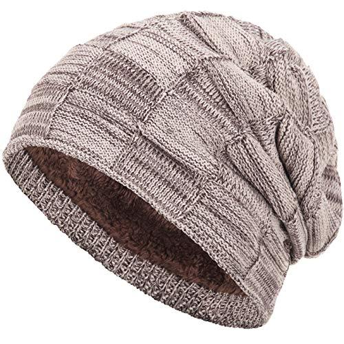 Compagno warm gefütterte Beanie Wintermütze Flechtmuster unifarben oder meliert Einheitsgröße Mütze, Farbe:Hellbraun meliert - Hauben