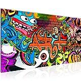 Bilder Graffiti Street Art Wandbild Vlies - Leinwand Bild XXL Format Wandbilder Wohnzimmer Wohnung Deko Kunstdrucke Bunt 1 Teilig - MADE IN GERMANY - Fertig zum Aufhängen 402112a