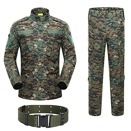 H Welt Shopping Military Tactical Herren Jagd Combat BDU Uniform-Shirt und Hose mit Gürtel Woodland Digital Aor2, AOR2 Military Combat Hose