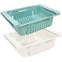 joeji's Kitchen Lot Boite de Rangement frigo (x 2) | Rangement Cuisine & frigo rétractable en 2 Couleurs (Bleu et Blanc)