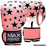MaxStrength Gants de boxe pour femme en cuir Rex rose/noir, rose, 414ml (8oz)