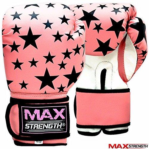MAXSTRENGTH Damen Boxhandschuhe pink schwarz Rex Leder Boxhandschuhe Sparring Handschuh Stanz Bag Mitts Training Muay Thai 8oz 10Z, pink/schwarz