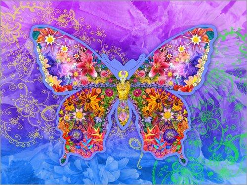 Cuadro sobre lienzo 120 x 90 cm: Blue Butterfly Floral de Alixandra Mullins / MGL Licensing - cuadro terminado, cuadro sobre bastidor, lámina terminada sobre lienzo auténtico, impresión en lienzo