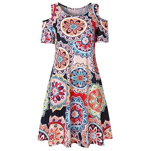 Vintage Boho Maxi Abend Party Strand Blumenkleid Sommerkleid(S,Multicolor-D) ()