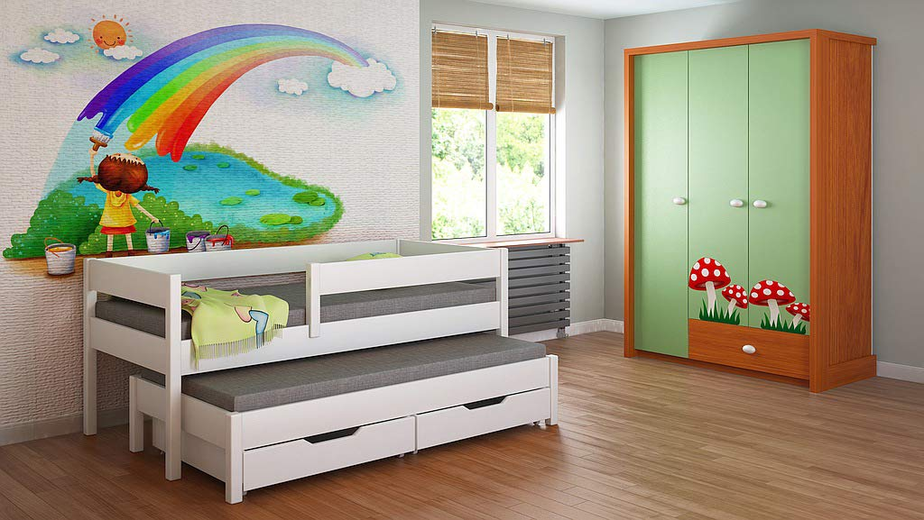 Children's Beds Home Trundle Bed For Kids Children Juniors with 2 Foam Mattresses and Drawers Included (200x90, White) Children's Beds Home Bed with Barriers Dimensions - Internal 140x70, 160x80, 180x80, 180x90, 200x90 (External: 147x77, 167x87, 187x87, 187x97, 207x97) Lower Bed Dimensions - Internal: 130x70, 150x80, 170x80, 170x90, 190x90 (External: 137x77, 157x87, 177x87, 177x97, 197x97) Universal bed entrance - right or left side, front barrier can be removed at later stage. Bed frame with load capacity of 150 kg, Fittings + installation instructions 2