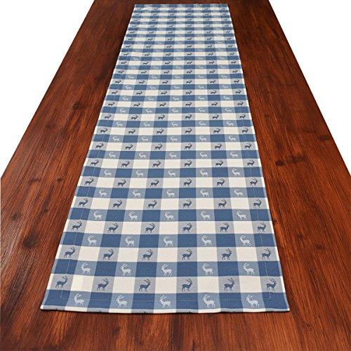 SeGaTeX home fashion Tischläufer Landhaus-Tischdecke Karo in Blau 40 x 160 cm Blau-weiß Kariert Hirschmotiv für Den rustikal-gemütlichen Landhaus-Stil