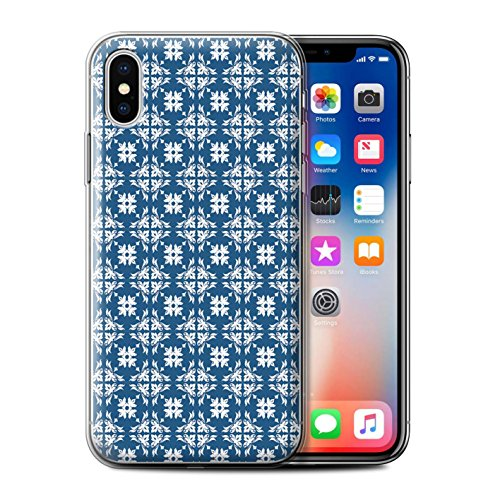 Stuff4 Gel TPU Hülle / Case für Apple iPhone X/10 / Magisches Einhorn Muster / Blau Mode Kollektion Dekorative Symmetrie
