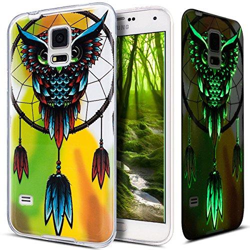 Kompatibel mit Galaxy S5 Hülle,Galaxy S5 Neo Hülle,Galaxy S5/S5 Neo Schutzhülle,Bunte Gemalt [Leuchtend Luminous] Handyhülle TPU Silikon Hülle Handy Hülle Case Tasche Schutzhülle,Eule Campánula