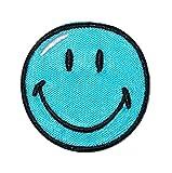 Bügelbild - Smiley blau - 3,8 cm * 3,8 cm - Aufnäher gewebter Flicken / Applikation - Gesichter Smile Emotion Smileys / lachend grinsend - bunt World - Mädchen Jungen Kinder Erwachsene - Smilies