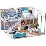Fsolis Miniature avec des Meubles de Maison de poupée, kit 3D Dollhouse en Bois Ainsi Que la poussière et Le Mouvement de la