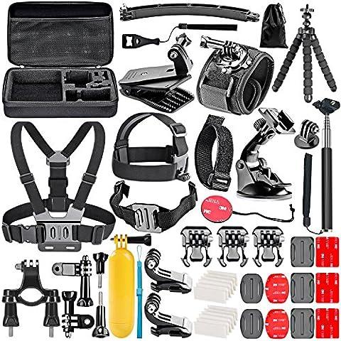 Neewer 50-En-1 Kit d'Accessoires d'Appareil Photo d'Action pour GoPro Hero 4/5 Session, Hero 1/2/3/3 + / 4/5, SJ4000 / 5000, Nikon et Sony Sports DV dans Natation Aviron Escalade Vélo Camping et Plus