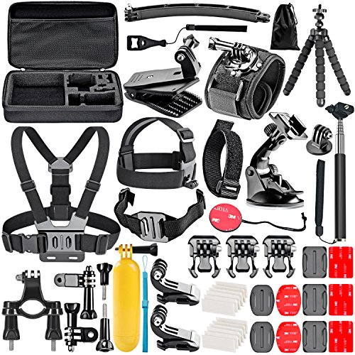 Neewer 50-in-1 Action Camera Accessory Kit for GoPro Hero 4/5 Session, Hero 1/2/3/3plus/4/5, SJ4000/5000, Xiaomi Yi, Nikon and Sony Sports DV in Swimming Rowing Climbing Bike Riding Camping and More