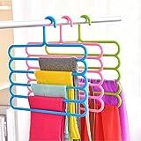YAJNAS 5 Layer Multipurpose Multi-Layer Hangers for Clothes | Shirts | Wardrobe | Ties | Pants | Space Saving Hanger | Cupboa