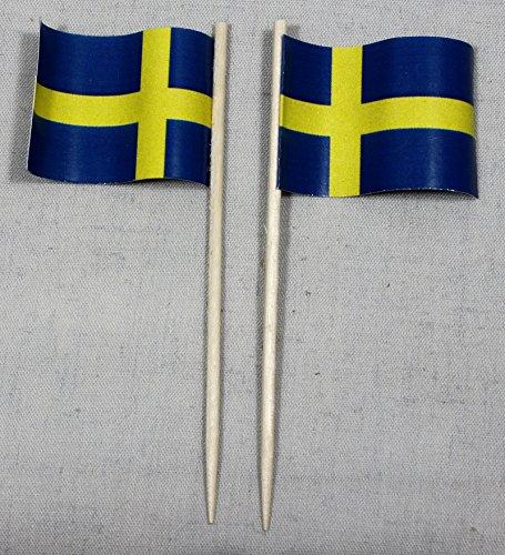 (Party-Picker Flagge Schweden Papierfähnchen in Spitzenqualität 50 Stück Beutel)