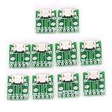 ICQUANZX 10 stks MICRO USB Naar DIP Adapter 5pin Vrouwelijke Connector B Type PCB Converter Breadboard USB-01 Switch Board SM