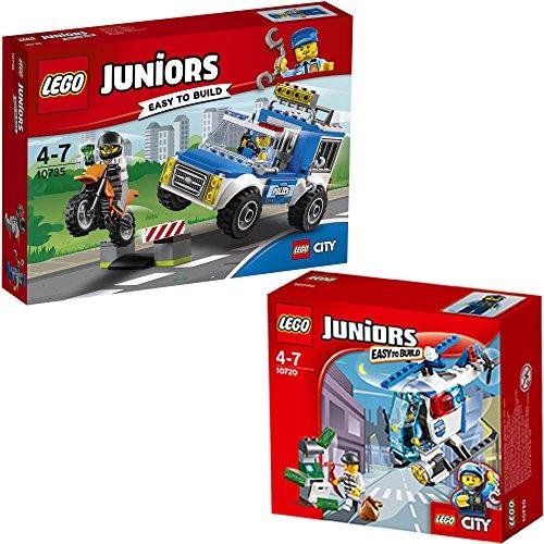 Preisvergleich Produktbild LEGO City Juniors 2er Set 10720 10735 Verfolgung mit dem Polizeihelikopter + Polizei auf Verbrecherjagd