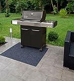 BBQ Grill Matte 120x100 cm uni anthrazit Grillteppich Bodenschutzmatte Matte Teppich Unterlage für Garten Terrasse