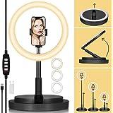 TARION 11 tum LED ringlampa vikbar selfie ringlampa med vridbar smarttelefonhållare och utdragbart lampställ dimbar LED ring