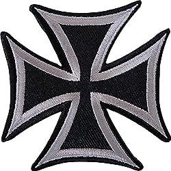 Negro Gris Cruz de Malta parche bordado Sew de hierro en camiseta Jeans chaqueta Insignia