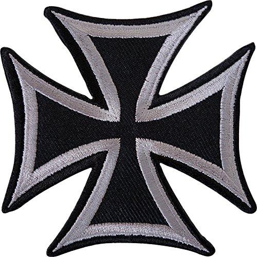 Schwarz Grau Malteser Kreuz bestickt Eisen nähen auf Patch Shirt Jeans Jacke Badge