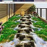 Syssyj Benutzerdefinierte Selbstklebende Boden Wandbild Tapete 3D Bridge Pier Stream Bodenfliesen Malerei Aufkleber Badezimmer Balkon Wasserdichte Wandbild-350X250CM