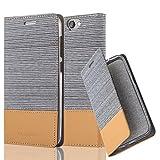 Cadorabo Hülle für HTC ONE A9 - Hülle in HELL GRAU BRAUN – Handyhülle mit Standfunktion und Kartenfach im Stoff Design - Case Cover Schutzhülle Etui Tasche Book
