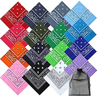 Keriber 16 Colors Cotton Bandanas Paisley Headbands Cowboy Bandana Handkerchiefs with Mesh Bags for Men and Women, 22 by 22 Inch (16 Colors)