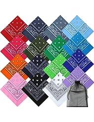 Keriber 16 Colors Cotton Bandanas Paisley Headbands Cowboy Bandana Handkerchiefs with Mesh Bags for Men and Women, 22 by 22 Inch