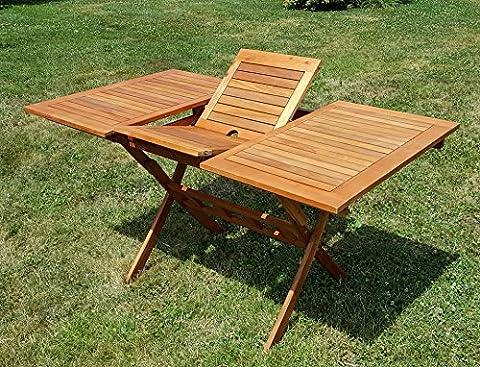 klappbarer Ausziehtisch 100/140x80cm Klapptisch Holztisch Gartentisch Garten Tisch 100/140x80cm geölt Holz Eukalyptus Hartholz wie Teak von