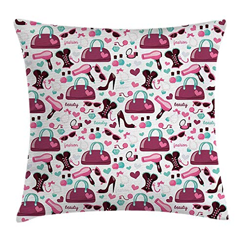 VICKKY Girls Throw Pillow Cushion Cover, Primary Girl Fashion Objects with Glamour High Heel Shoe and Bag Clothing Print, Decorative Square Accent Pillow Case, 18 X 18 inches, Purple White Glamour Satin-heels