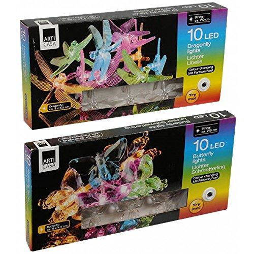 10 lumières string lED multicolore 2 formes assorties Papillon ou libellule, décoration jardin arbres ou plantes
