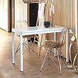 Pharao24 Design Esstisch mit Weißglas beschichtet ausziehbar