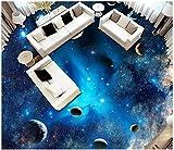 BZDHWWH Benutzerdefinierte 3D-Bodenbelag Wasserdicht Selbstklebe Wandbilder Space Star Planet 3D Boden Malerei Aufkleber Tapete Wohnzimmer Wanddekoration,300Cm X 400Cm