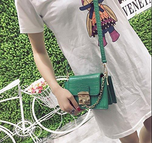 Krokodil Modell Frauen Paket quadratisch klein Paket von Umhängetasche Langarm Diagonale grün