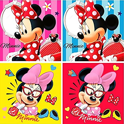 Disney Minnie Mouse Lot de 4 gants de toilette 30 x 30 cm, original sous licence
