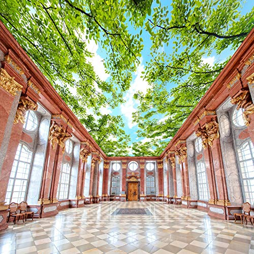 Zxdcd Forest Themed Ceiling Fresco Blue Sky White Clouds Green Tree Leaves 3D Photo Wallpaper Bedroom Room Ceiling Wallpaper Murals-120X100Cm